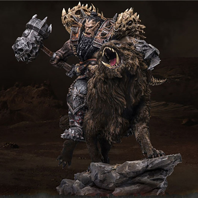 Black Hand Riding a Wolf Genuine Statue Figure 1