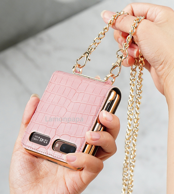 Luxury Case for Samsung Z Flip 5G Magnetic Mirror Fold Phone Case with Chain Strap Shockproof Cover for Samsung Z Flip Case 2
