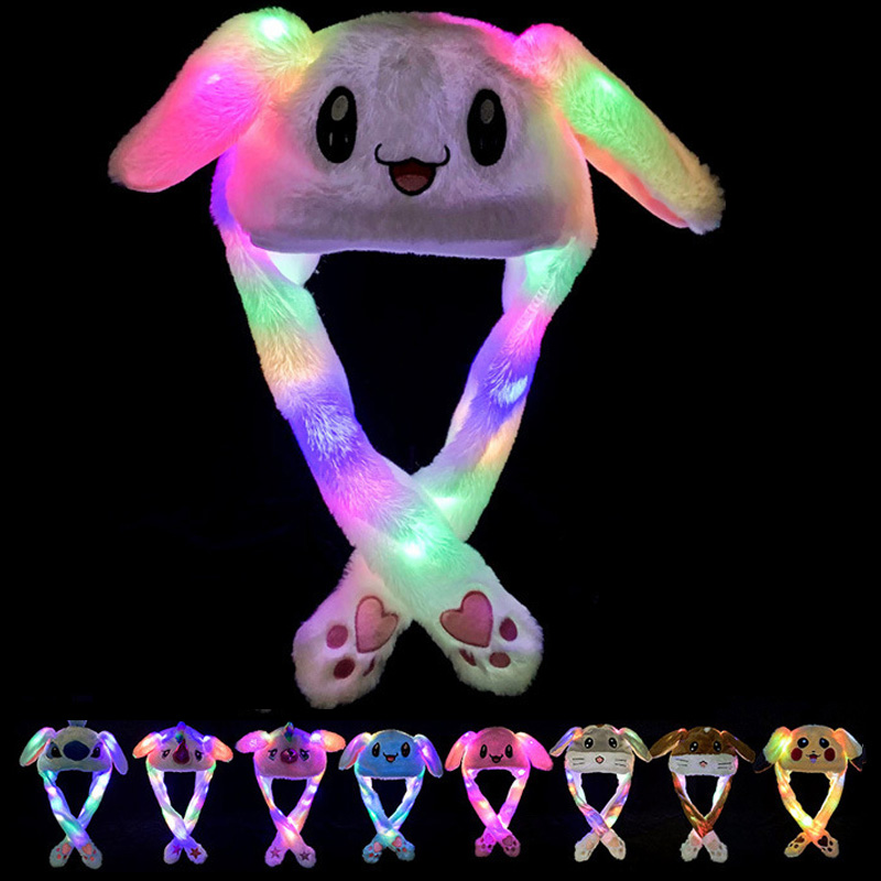 Kocozo Kawaii Hat Moving Ears Cute Rabbit Toy Hat Led light Cartoon Funny Toy Hat for Girls Cap Kids Plush Toy Christmas Gift