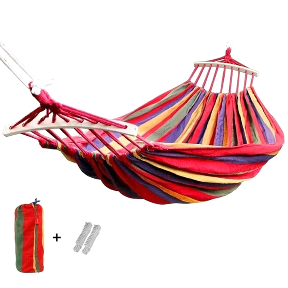 190x150cm Hanging Hammock With Spreader Bar Double/Single Adult Strong Swing Chair Travel Camping Sleeping Bed Outdoor Furniture|Hammocks| - AliExpress