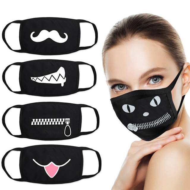 Funny Face Mask for Adult Children Cartoon Dustproof Cotton Face Mouth Masks Anime Bear Kawaii Kpop Winter Warm Skull Mask 1