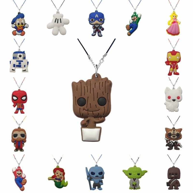 New 1pcs PVC Pendant Necklace Avenger Super Mario Star Wars Choker Rope Chain GOT Fashion Charm Accessories Kids Xmas Gift