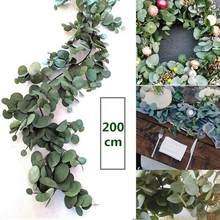 2m artificiais verdes de eucalipto guirlanda folhas de videira, vinhos falsos, rattanplants, hera, decoração de parede, decoração de casamento