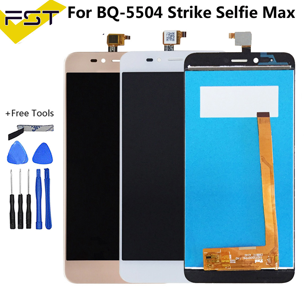 5.5''For <font><b>BQ</b></font> <font><b>BQ</b></font>-5504 <font><b>BQ</b></font> 5504 BQS 5504 Strike Selfie <font><b>Max</b></font> LCD With Touch <font><b>Screen</b></font> Glass Panel Digitizer Assembly Repair Parts+Tools image