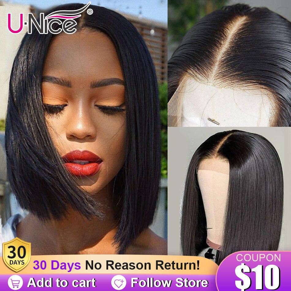 "Unice Hair 13*4/6 pelucas de cabello humano frontal de encaje 8-14 ""recto corto corte Romo Bob para mujeres negras Deep Part pelucas brasileñas cortas"
