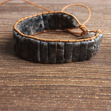 LanLi natural Jewelry cuboid gray spectrolite knit  bracelet Men and women fashion Exquisite accessories amulet