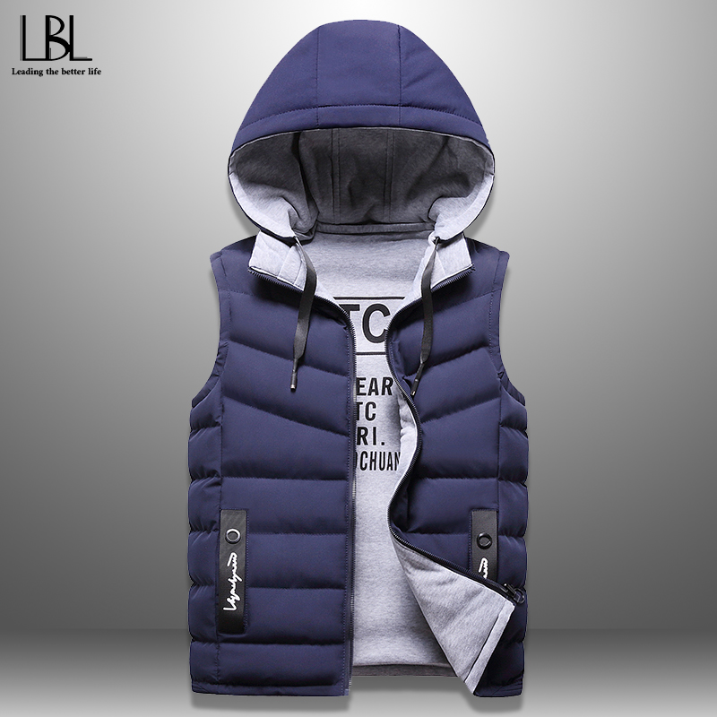 Winter Mens Stylish Vest Casual Down Vests Men Sleeveless Jackets Warm Hooded Waistcoat Wear On Both Sides Hat Detachable M-4XL