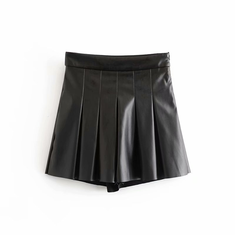 2020 Women's New Pu Pleated Faux Leather Casual Short Skirt Sexy Mini High Waist Shorts Womens Clothes
