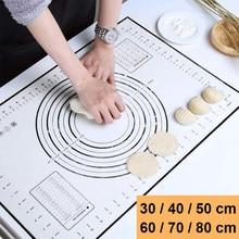 Almohadilla de silicona de gran tamaño para amasar, superficie antiadherente, esterilla para masa con escala, cocina, hoja de pastelería, revestimiento para horno, utensilios para hornear