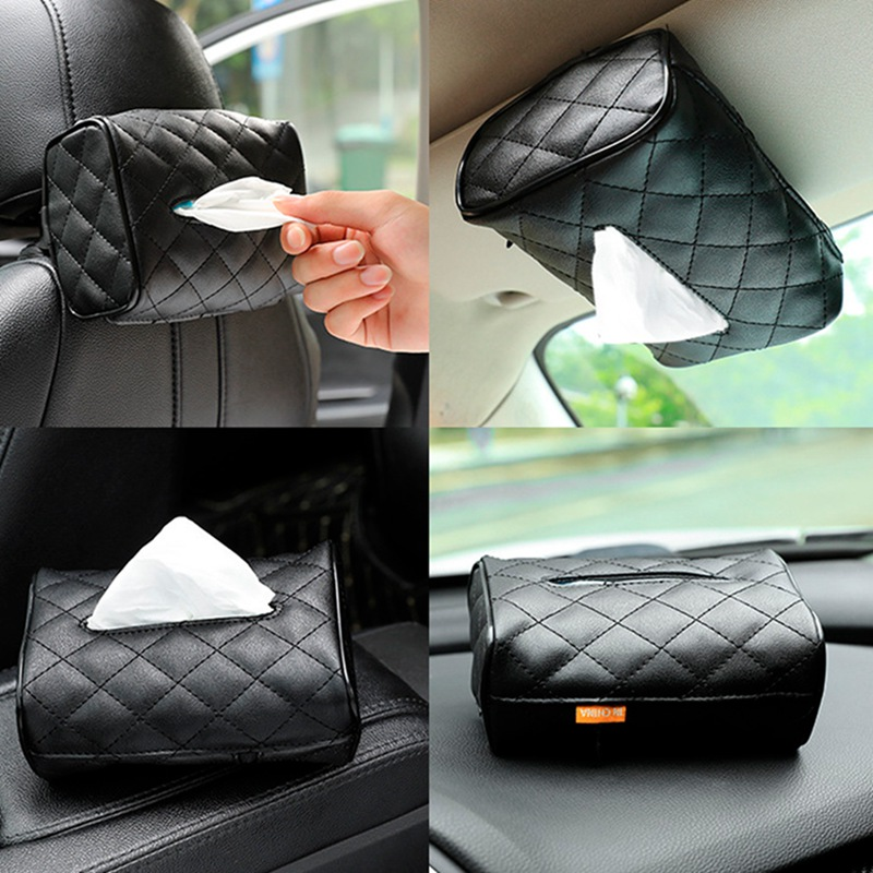 Tissue Box PU Leather Car Tissue Box Napkin Holder Sun Visor Hanging Storage Box For Car Back Seat Hanging Paper Holder