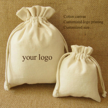 Canvas Drawstring Bag Cotton Pouches/Product Packaging/JewelryCosmetic/Gift/Wedding/Party Sachet Pocket Custom Logo Print 100p