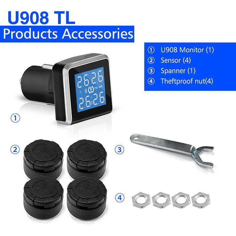 Lcd Display Tire Pressure Monitoring System Lighter Cars Motorcycle Solar Automotive Car 4 Sensors Replacement
