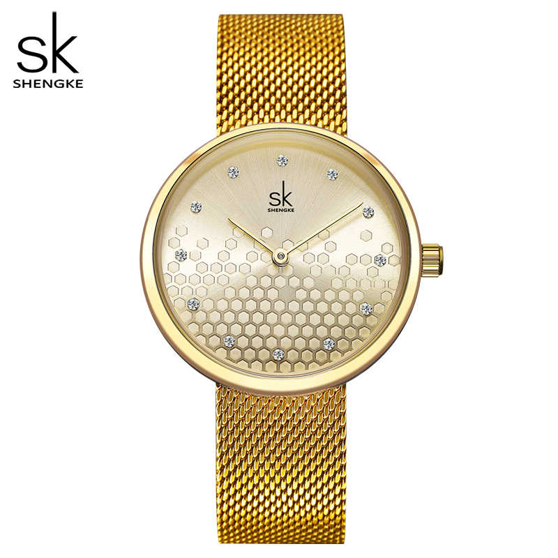Shengke Woman Watches Gold Top Brand Luxury Watch Women Quartz Waterproof Women's Wristwatch Ladies Girls Watches Clock