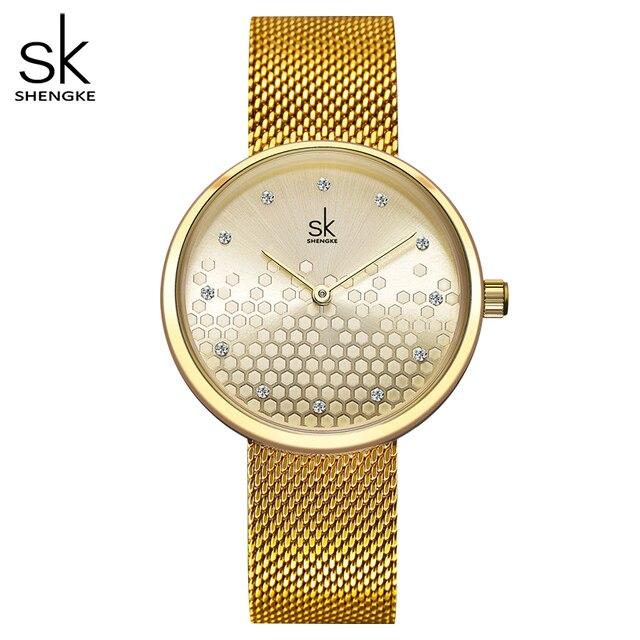Shengke, женские часы, золотые, лучший бренд, роскошные часы для женщин, кварцевые, водонепроницаемые, женские наручные часы, для девушек, часы