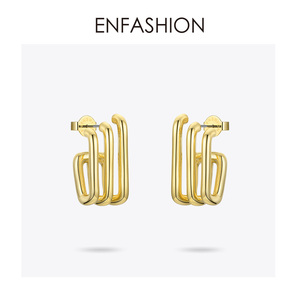 Image 3 - ENFASHION Punk Multiple C Shape Stud Earrings For Women Gold Color OL Minimalist Geometric Earings Fashion Jewelry E191079