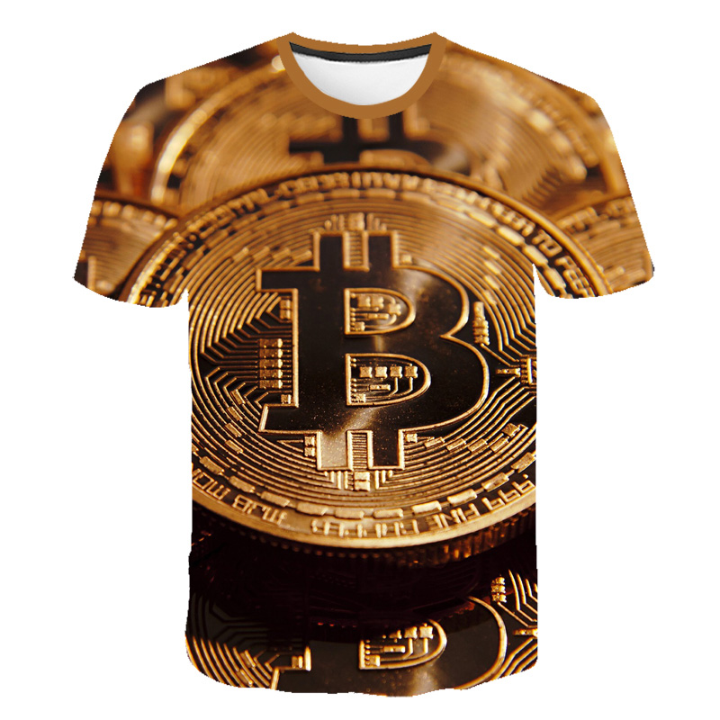 2020 exploding foreign trade men's bitcoin (Bitcoin) 3D printed short-sleeved summer men's T-shirt 1