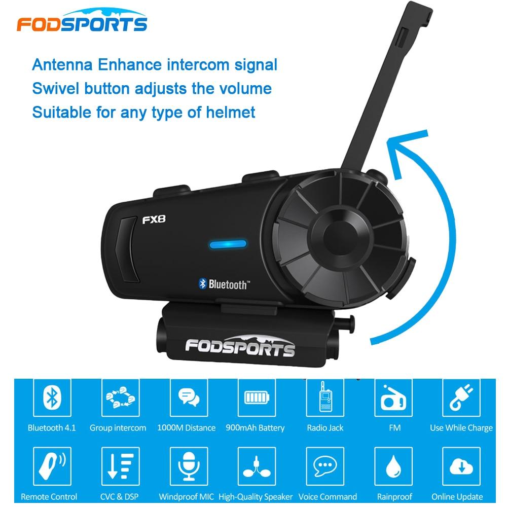 Fodsports FX8 Motorrad Helm Headset 8 Fahrer Gruppe Sprechen 1000m Bluetooth Moto Intercom Drahtlose BT Sprech Mit FM Radio