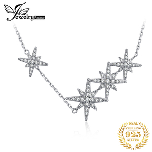 JewelryPalace Star CZ Sterling Silver Pendant Necklace 925 Sterling Silver Chain Choker Statement Collar Necklace Women 45cm(China)