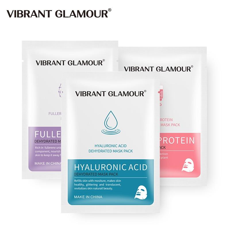 VIBRANT GLAMOUR Face Mask Fullerene Serum Protein Hyaluronic Acid  Face Mask Anti-aging Whitening Moisturizing Skin Care 1pcs