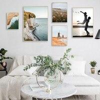 Pintura en lienzo de paisaje natural escandinavo para decoración del hogar, póster de arte de pared con impresión de estilo nórdico y Flor de playa y atardecer