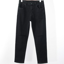 2020 men's new Korean slim hole fashion slim black jeans