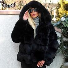 Fashion Luxury Black Thick Real Fox Fur Coats With Hood For Women Full Pelt Short Genuine Fox Fur Jackets Woman Winter Overcoat