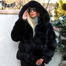 Moda di Lusso Nero di Spessore Reale Cappotti di Pelliccia di Volpe Con Cappuccio Per Le Donne di Pelle Pieno Breve Genuino della Pelliccia di Fox Giubbotti Donna inverno Cappotto
