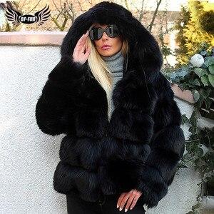 Image 1 - Moda di Lusso Nero di Spessore Reale Cappotti di Pelliccia di Volpe Con Cappuccio Per Le Donne di Pelle Pieno Breve Genuino della Pelliccia di Fox Giubbotti Donna inverno Cappotto