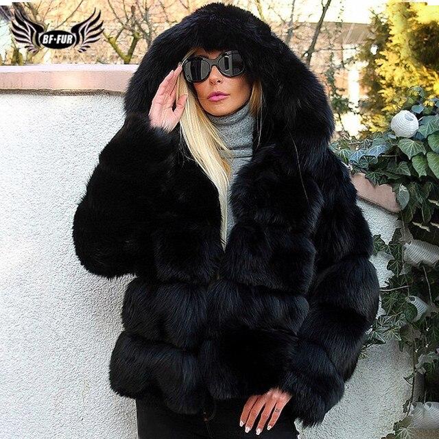 Mode luxe noir épais réel fourrure de renard manteaux avec capuche pour les femmes pleine peau courte véritable fourrure de renard vestes femme manteau dhiver