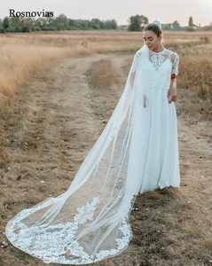 Image 2 - 2020 Long Lace Bridal Veils With Comb 3M Wedding Veils Appliques Cathedral 3 Meters Length Wedding Veils Bride Accessories
