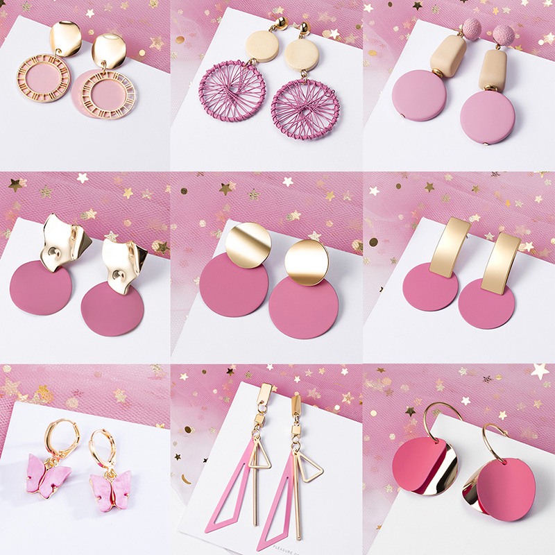 POXAM New Korean Statement Earrings for women Pink Sweet Arcylic Geometric Dangle Drop Gold Earings Brincos 2020 Fashion Jewelry