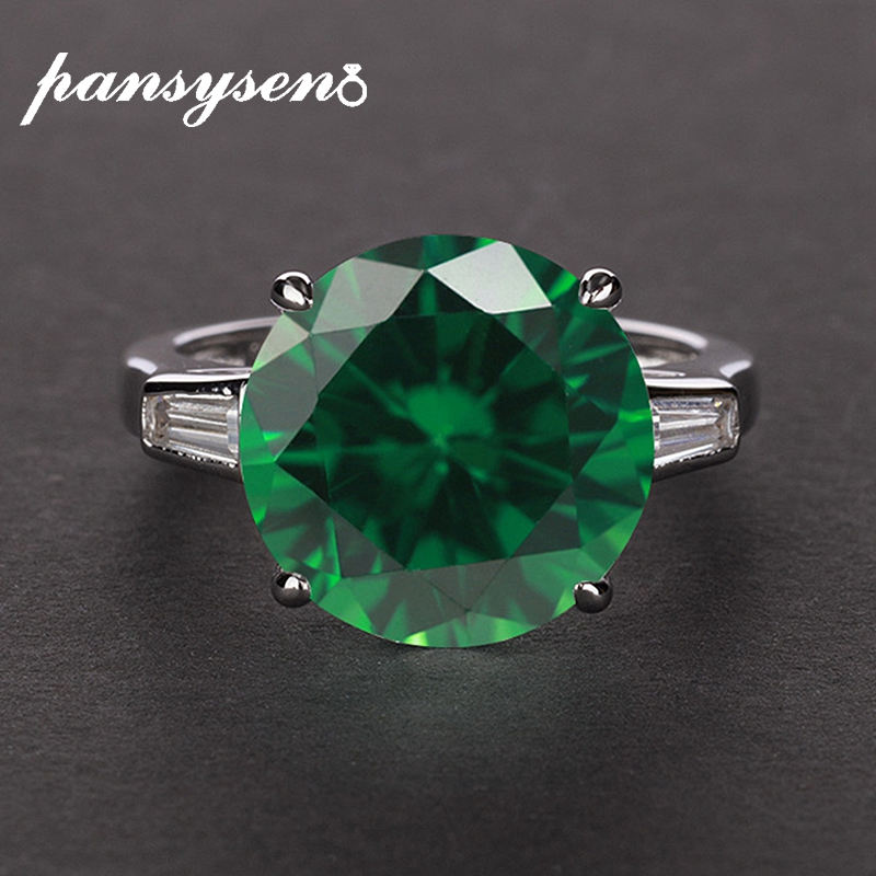 PANSYSEN Charms 8 Colors 12MM Round Emerald Gemstone Ring 925 Sterling Silver Fine Jewelry Ring wholesale cocktail party Gifts