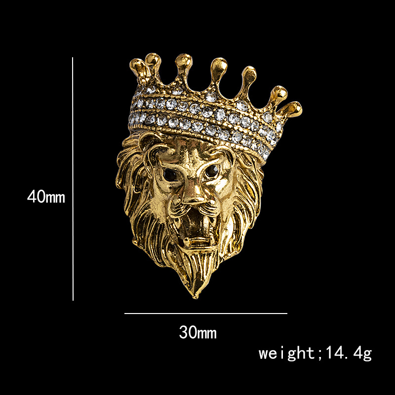 Vintage Animal Lion Head Brooch Crystal Crown Lapel Pin for Men and Women Suit Shirt Collar Pins Brooches Jewelry Accessories 6