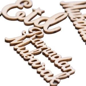 Image 4 - 15/30/60 個イードムバラク diy 木材チップ小道具ホーム iftar パーティーデコ用品イスラム教徒イードムバラクラマダン木製アルファベット飾り