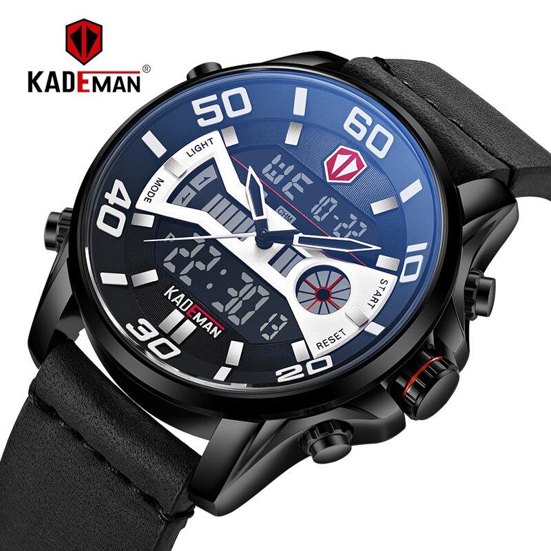 TOP Quality Men Watch 3ATM Sport Watch Luxury LED Display Digital Wristwatch KADEMAN Brand Time Casual Leather Relogio Masculino