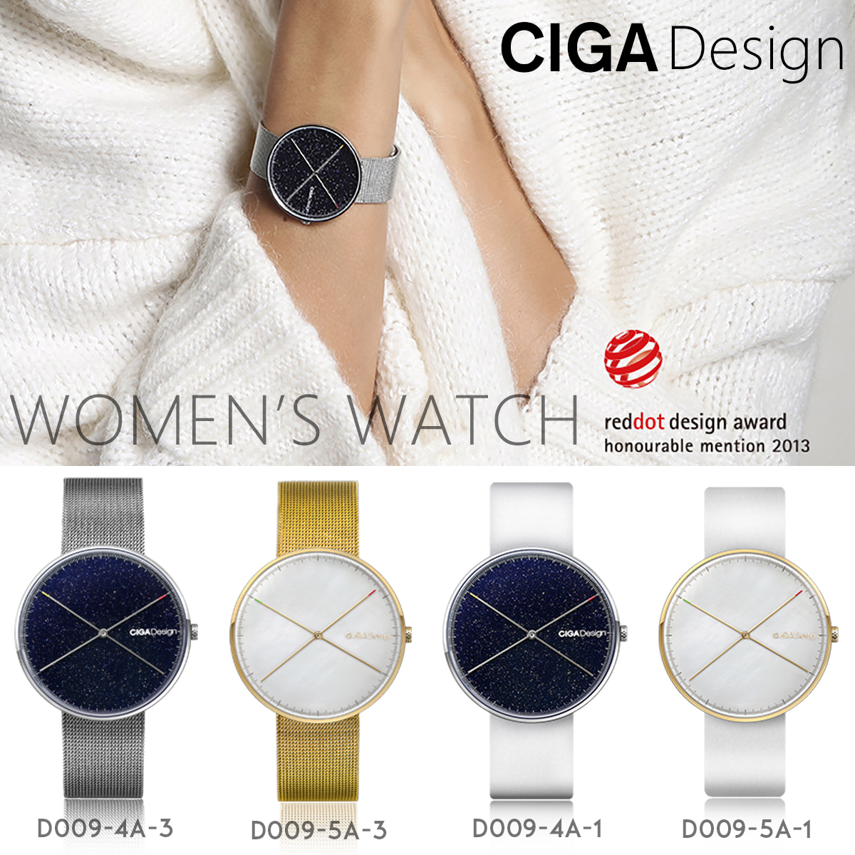 CIGA DESIGN CIGA Quartz Watch Star Watch Womens Simple Fashion Ladies Watch Wins Red Dot Design Award X series