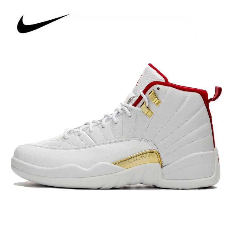 Original Jordan Shoes Women Nike Air Jordan 12 FIBA 2019 Men's Jordan Shoes Basketball Shoes High-top Sneakers Unisex 130690-107