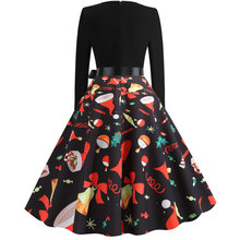 New Hot Women Christmas Print Dress Splicing Round Neck Long Sleeve Dress for Christmas Party YAA99 christmas print skater party dress
