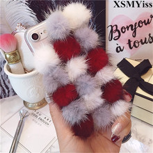 For iphoneX Xs Max XR 7 8 6 6S Plus Case Cute Mink Hair Ball Fluffy Fur Hair Soft TPU Clear Phone Case Bling Diamond Back Cover