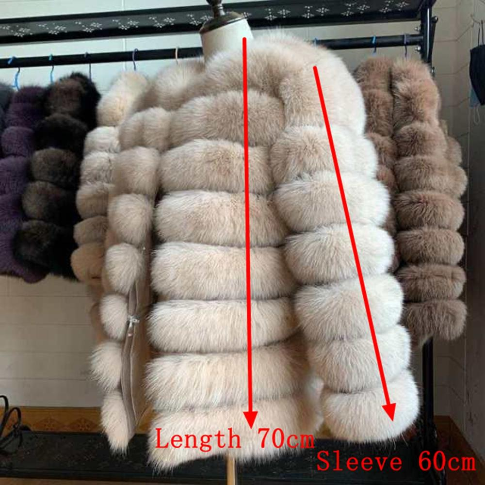 70CM 100% Real Fur Real Fur Fox Coat Outfit Long Sleeves Quality Silver Fox Women Winter Warm Thick Natural Fox Fur Coats