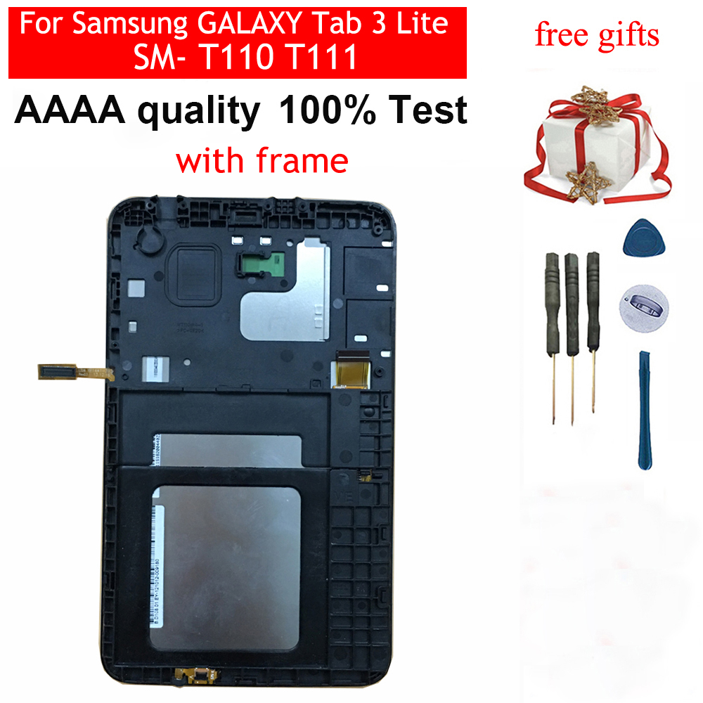 For Samsung GALAXY Tab 3 Lite SM- T110 T111 Black / White Touch Screen Sensor Digitizer Glass + LCD Display Panel With Frame