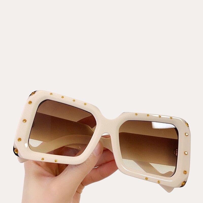 Women Sunglasses Square Shape Crystal Diamond Luxury Big Frame Sun Glasses Shade UV400 Vintage Oversized Female oculos de sol