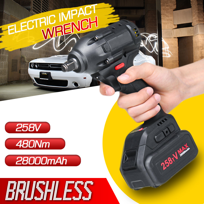 480Nm 258V 28000mAh Brushless Cordless Electric Wrench Impact Driver Power Tool Rechargeable Lithium Battery Household Drill