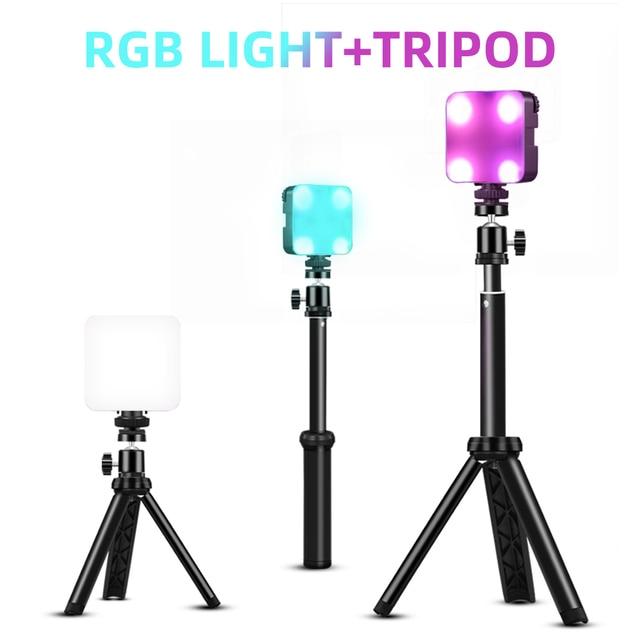6W Mini RGB LED Video işığı Tripod ile 2700K 6500K kamera dolgu işığı fotoğrafçılığı aydınlatma için Tiktok Vlog işık lambası