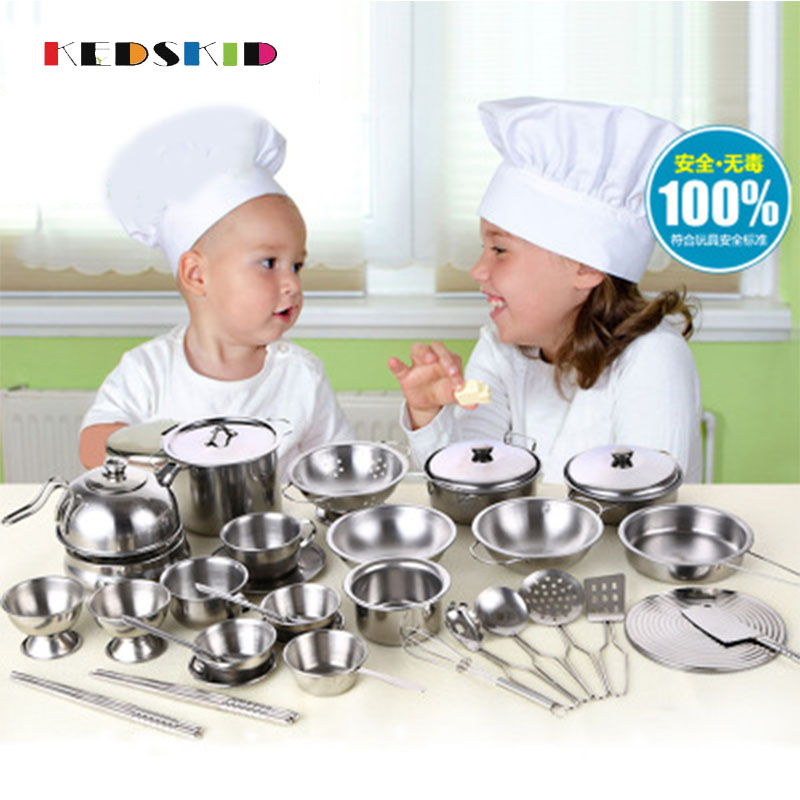 Pretend Play Toy Stainless Steel Children Toy Miniature Cooking Set Simulation Tableware New Year Gift Xmas