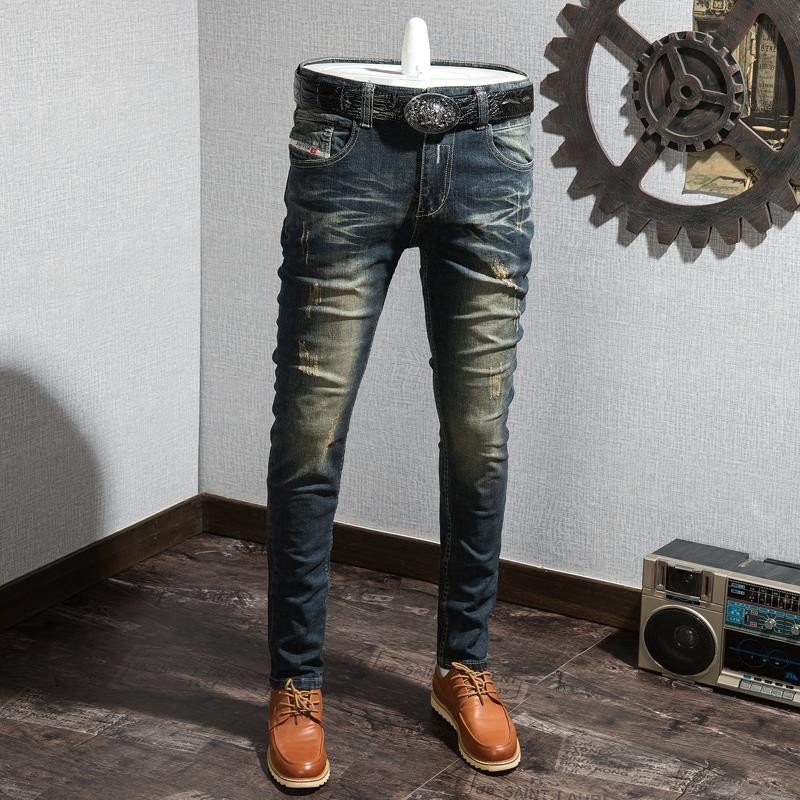 802 Vintage Jeans Men's Faded Cool Popular Brand Washing Elasticity Slim Fit Skinny Pants Micro