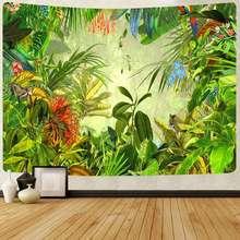 Simsant tropical floresta tropical tapeçaria animal elefante dinossauro floresta tapeçarias de suspensão parede para sala estar quarto decoração casa