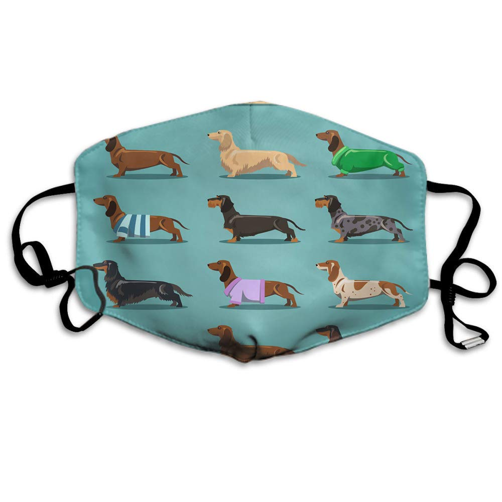 Swono Mask Dog,Cute Dachshund Dog Pattern Polyester Anti Dust Face Mask-Washable And Reusable Mask For Cycling Camping Outdoor