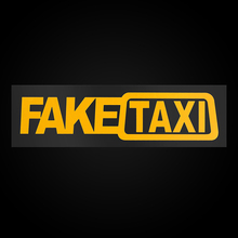 2pcs Funny Window Vinyl Decals Car Styling Self Adhesive Emblem Car Stickers Yellow FAKE TAXI Funny Car Sticker Car Accessories car styling 3d car stickers funny auto ball hits car body window sticker self adhesive baseball tennis decal accessories