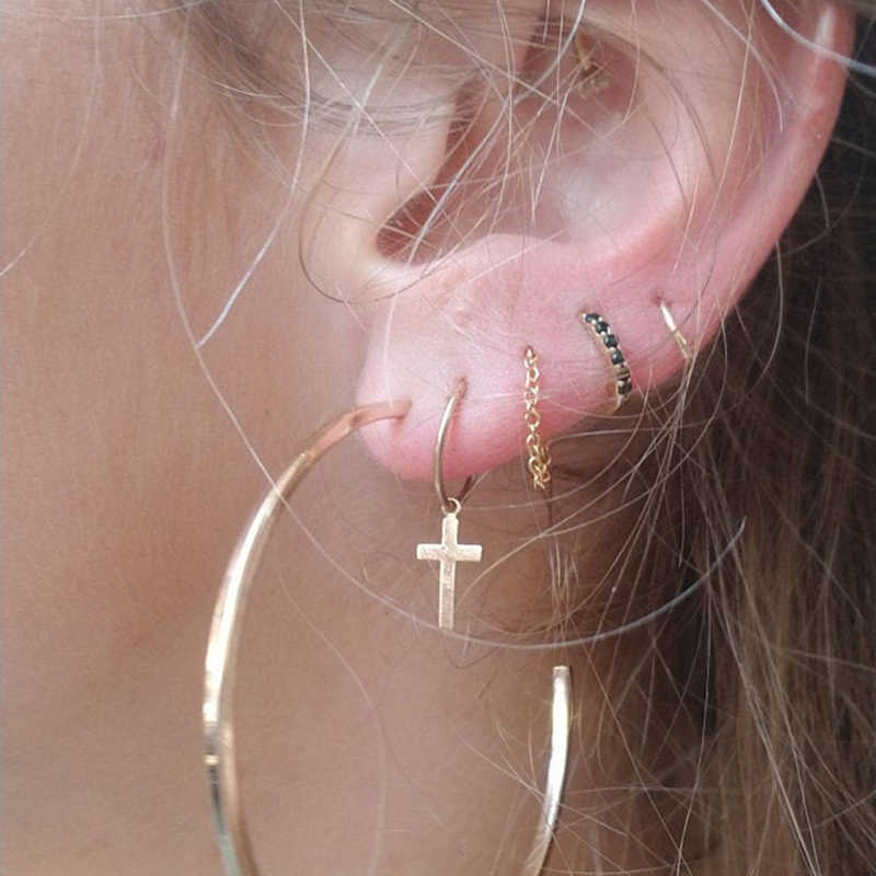 Real 925 เงินต่างหู GOLD Zircon ต่างหูผู้หญิงหูต่างหูหญิง Starry aretes R5